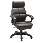 Lorell® Luxury High-Back Bonded Leather Chair - Black