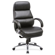 Lorell® Bonded Leather High-Back Chair - Black