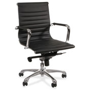 Lorell® Modern Chair Series Mid-Back Leather Chair - Black
