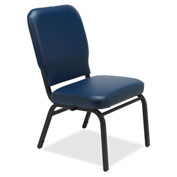 Lorell® Vinyl Back/Seat Oversized Stack Chairs - Navy - 2/Pack