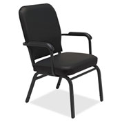 Lorell® Fixed Arms Vinyl Oversized Stack Chairs - Black - 2/Pack