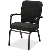 Lorell® Fixed Arms Fabric Oversized Stack Chairs - Black - 2/Pack