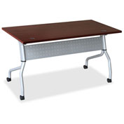 "Lorell® Mobile 60"" Flip Top Training Table - Mahogany"