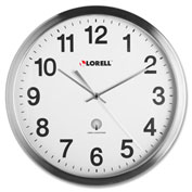 "Lorell Atomic Wall Clock 11-3/4"" Chrome"