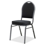 Lorell® Upholstered Textured Fabric Stacking Chair - Gray - 4/Pack