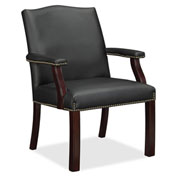Lorell® Bonded Leather Guest Chair - Black