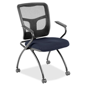 Lorell® Mesh Back Fabric Seat Nesting Chairs - Periwinkle Blue