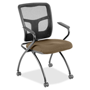 Lorell® Mesh Back Fabric Seat Nesting Chairs - Roulette - 2/Pack