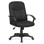 Lorell® Executive Fabric Mid-Back Chair - Black