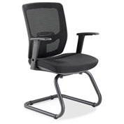 Lorell® Variable-Resist Lumbar Guest Chair with Arms - Black