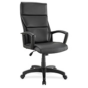 Lorell® Euro Design Leather Executive High-Back Chair - Black