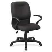 Lorell® Executive Mid-Back Fabric Contour Chair - Black