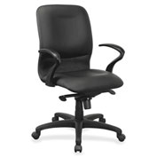 Lorell® Executive Mid-Back Leather Contour Chair - Black