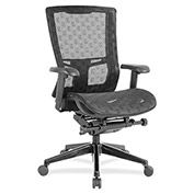 Lorell® Checkerboard Design High-Back Mesh Chair - Black