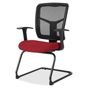 Lorell® 86000 Series Mesh Side Arm Guest Chair - Real Red