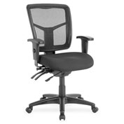 Lorell® Managerial Swivel Mesh Mid-Back Chair - Black