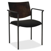 Lorell® Guest Chair with Arms - Black with Espresso Back - 2/Pack