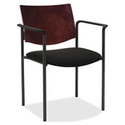 Lorell® Guest Chair with Arms - Black with Mahogany Back - 2/Pack