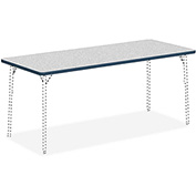"Lorell® Classroom Rectangular Activity Table Top - 72"" x 30"" - Gray Nebula with Navy Edge"