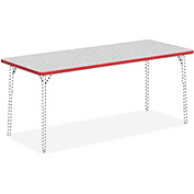 "Lorell® Classroom Rectangular Activity Table Top - 72"" x 30"" - Gray Nebula with Red Edge"