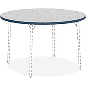 "Lorell® Classroom Round Activity Table Top - 48"" Round - Gray Nebula with Navy Edge"