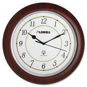 "Lorell® 13.5"" Round Radio Controlled Wall Clock, Wood Case, Mahogany"