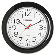 "Lorell® 13.3"" Round Quartz Wall Clock, Plastic Case, Black"