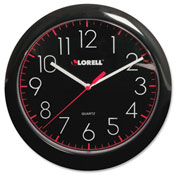 "Lorell® 10"" Round Quartz Wall Clock, Plastic Case, Black"