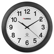 "Lorell® 12"" Round Radio Controlled Wall Clock, Plastic Case, Black"