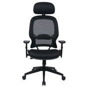 Office Star Professional Air Grid Mesh Chair with Adjustable Headrest - Black