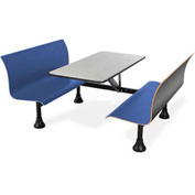 OFM Retro Table with Bench - 30 x 48 - Stainless Steel Top - Blue Seats
