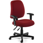 OFM Posture Task Chair with Arms - Fabric - Mid Back -Wine