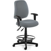 OFM Posture Task Chair with Arms and Drafting Kit (Footstool) - Gray