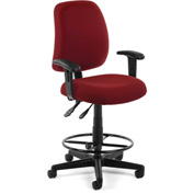 OFM Posture Task Chair with Arms and Drafting Kit (Footstool) - Wine