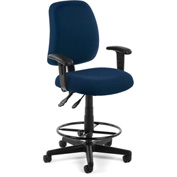 OFM Posture Task Chair with Arms and Drafting Kit (Footstool) - Navy