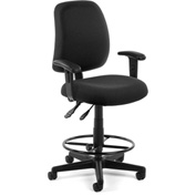 OFM Posture Task Chair with Arms and Drafting Kit (Footstool) - Black