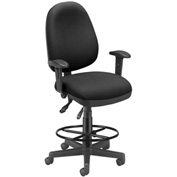 OFM Executive Task Chair With Drafting Kit (Footstool) - 6 Function - Black
