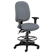 Ergonomic Task Computer Chair with Drafting Kit (Footstool) - Gray