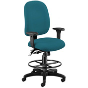 Ergonomic Task Computer Chair with Drafting Kit (Footstool) - Teal