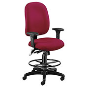 Ergonomic Task Computer Chair with Drafting Kit (Footstool) - Wine