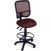 OFM Ergonomic Mesh Task Stool with Drafting Kit (Footstool) - Wine