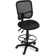 OFM Ergonomic Mesh Task Stool with Drafting Kit (Footstool) - Black