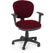OFM Computer Chair with Arms - Fabric - Mid Back - Burgundy