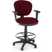 OFM Computer Chair with Arms and Drafting Kit (Footstool) - Burgundy