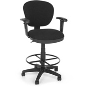 OFM Computer Chair with Arms and Drafting Kit (Footstool) - Black
