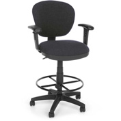 OFM Computer Chair with Arms and Drafting Kit (Footstool) - Gray