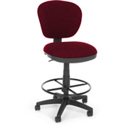 OFM Computer Chair with Drafting Kit (Footstool) - Burgundy