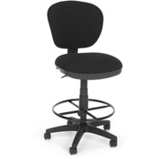 OFM Computer Chair with Drafting Kit (Footstool) - Black