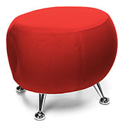 OFM Jupiter Fabric Ball Stool  - Red with Chrome Feet
