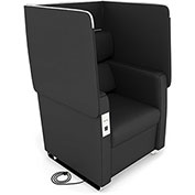 OFM Morph Series Privacy Chair with Flip-Up Privacy Panels & AC/USB Recharge Panel in Midnight Vinyl